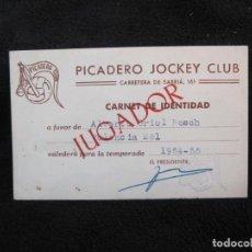 Coleccionismo deportivo: BARCELONA-PICADERO JOCKEY CLUB-JUGADOR-CARNET DE IDENTIDAD-AÑO 1954 1955-VER FOTOS-(77.542). Lote 240928875
