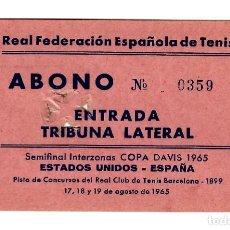 Coleccionismo deportivo: COPA DAVIS 1965 - SEMIFINAL INTERZONAS - EEUU - ESPAÑA - BARNA AG./65 - ABONO TRIBUNA LAT. 110X67. Lote 241976550