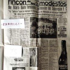 Coleccionismo deportivo: 1966 - ENTREVISTA CON RICARDO DUARTE, ENTRENADO DEL EQUIPO ASTURIANO DE FÚTBOL SIDERÚRGICO F. C.. Lote 242055150
