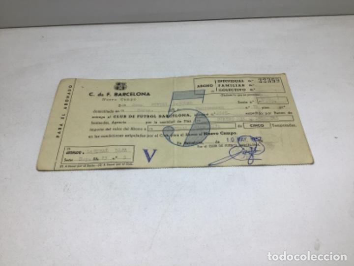 F.C. BARCELONA - ABONO NUEVO CAMPO - ABONO 5 TEMPORADAS AÑO 1957 (Coleccionismo Deportivo - Documentos de Deportes - Otros)