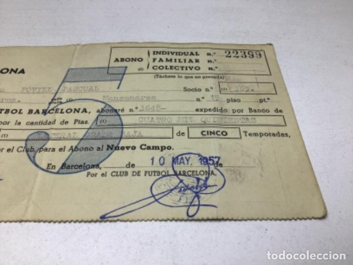 Coleccionismo deportivo: F.C. BARCELONA - ABONO NUEVO CAMPO - ABONO 5 TEMPORADAS AÑO 1957 - Foto 2 - 244407795
