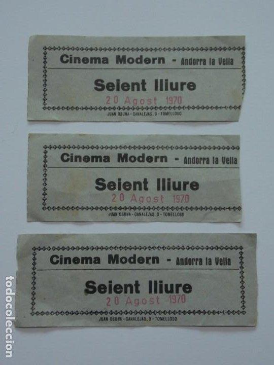 3 ENTRADAS DE CINE - CINEMA MODERN - ANDORRA LA VELLA - SEIENT LLIURE - 20 AGOST 1970 ...L3399 (Coleccionismo Deportivo - Documentos de Deportes - Otros)
