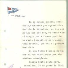 Coleccionismo deportivo: 4234.- REMO-CARTA DEL CLUB MARITIM DE BARCELONA-ENVIADA AL REMADOR ARNAU MARGARIT CALVET. Lote 244658665