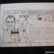 Coleccionismo deportivo: RICARDO ZAMORA HIJO-VALENCIA CF-ASES DEL DEPORTE-ORIGINAL A PLUMA-VER FOTOS-(K-2060). Lote 248056520