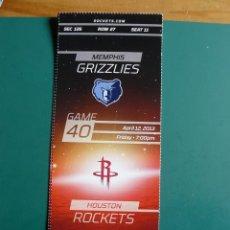 Coleccionismo deportivo: ENTRADA DE NBA DEL PARTIDO HOUSTON ROCKETS - MEMPHIS GRIZZLIES 12-4-2013. Lote 248175130