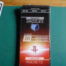 Coleccionismo deportivo: ENTRADA DE NBA DEL PARTIDO HOUSTON ROCKETS - MEMPHIS GRIZZLIES 22-12-2012. Lote 248175205