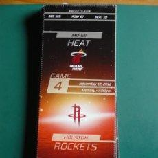 Coleccionismo deportivo: ENTRADA DE NBA DEL PARTIDO HOUSTON ROCKETS - MIAMI HEATS 12-11-2012. Lote 248175300