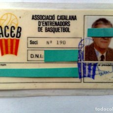 Coleccionismo deportivo: CARNET SOCIO ACEB,ASSOCIACIÓ D'ENTRENADORS DE BASQUETBOL.. Lote 252133930