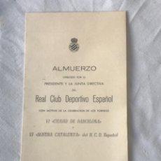 Coleccionismo deportivo: ALMUERZO MINUTA DEL PRESIDENTE DEL REAL CLUB DEPORTIVO ESPAÑOL. VI CIUDAD DE BARCELONA 1979.. Lote 252899510