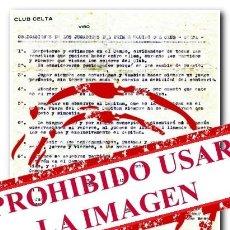 Coleccionismo deportivo: 18-12-1923. CARTA OFICIAL DEL CELTA. PRIMERAS OBLIGACIONES DE LOS JUGADORES DEL CELTA. Lote 254463620