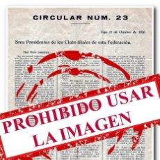 Coleccionismo deportivo: 21-10-1930. CARTA OFICIAL DA F.G.F. (FEDERACIÓN GALEGA DE FÚTBOL) CIRCULAR Nº23. Lote 254464255