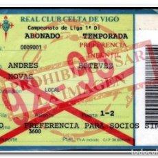 Coleccionismo deportivo: CARNET ABONO CELTA DE VIGO TEMPORADA 1992/93. Lote 254465225