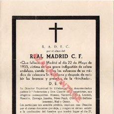 Coleccionismo deportivo: ESQUELA DEL SEVILLA FÚTBOL CLUB, EN TONO DE HUMOR, DESPUÉS DE GANAR AL REAL MADRID. AÑO 1955.. Lote 254974325
