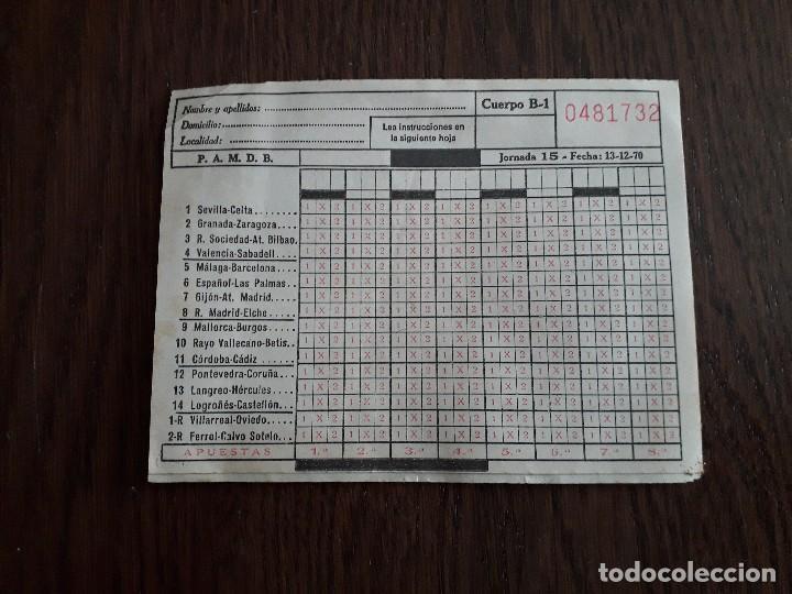 QUINIELA ANTIGUA, JORNADA 15 FECHA 13-12-1970 (Coleccionismo Deportivo - Documentos de Deportes - Otros)