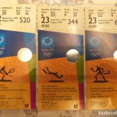 Coleccionismo deportivo: LOTE DE 3 ENTRADAS DE FINALES OLÍMPICAS, TENIS, VOLEY-PLAYA Y PING-PONG, ATENAS 2004. Lote 255392345