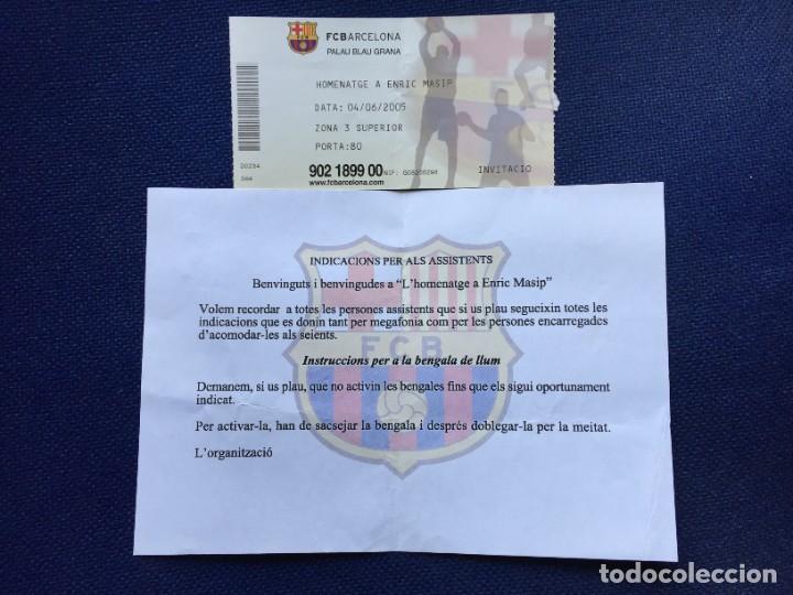 R14243 ENTRADA TICKET BALONMANO BARCELONA HOMENAJE A ENRIC MASIP (4-6-2005) (Coleccionismo Deportivo - Documentos de Deportes - Otros)