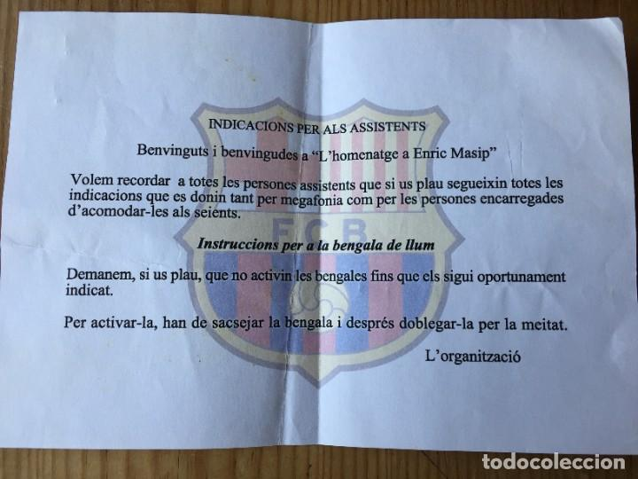 R14244 FANZINE INDICACIONES A LOS ASISTENTES BALONMANO BARCELONA HOMENAJE A ENRIC MASIP (4-6-2005) (Coleccionismo Deportivo - Documentos de Deportes - Otros)