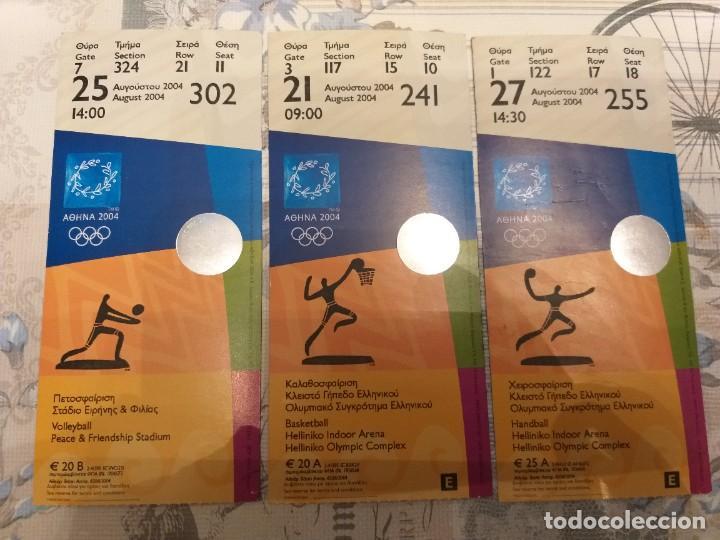 LOTE DE 3 ENTRADAS OLÍMPICAS, ATENAS 2004 (Coleccionismo Deportivo - Documentos de Deportes - Otros)