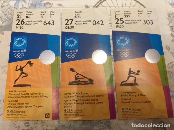 LOTE DE 3 EMTRADAS OLÍMPICAS, ATENAS 2004 (Coleccionismo Deportivo - Documentos de Deportes - Otros)