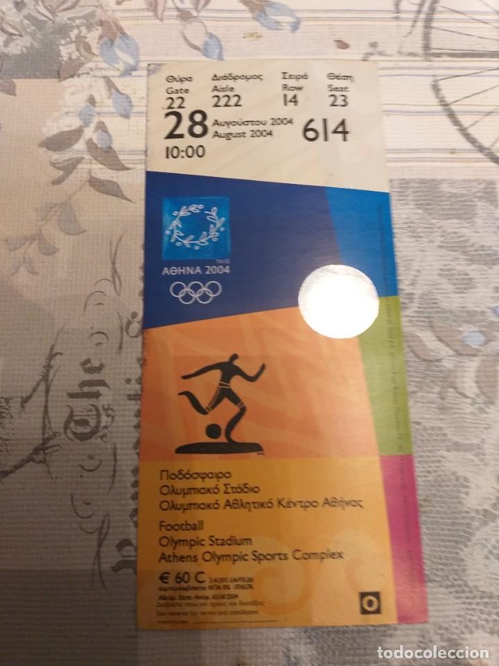 ENTRADA DE FINAL OLÍMPICA DE FÚTBOL, ATENAS 2004 (ARGENTINA 1- PARAGUAY 0) (Coleccionismo Deportivo - Documentos de Deportes - Otros)