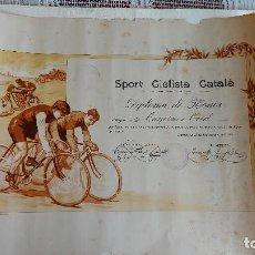 Coleccionismo deportivo: T-735.- DIPLOMA -- SPORT CICLISTA CATALA -- CARRERA DE NEOFITOS, EN ALELLA 27-AGOS-1916 , 48 X 34.. Lote 261106755