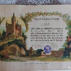 Coleccionismo deportivo: T-736.- DIPLOMA-- SPORT CICLISTA CATALA -- POR ARTE Y GUSTO EN EL ADORNO DE LA BICICLETA- 1 MAR-1918. Lote 261107740