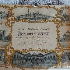 Coleccionismo deportivo: T-737.- DIPLOMA -- SPORT CICLISTA CATALA --POR SU CONSTANCIA Y ASIDUIDAD A LAS EXCURSIONES -1917. Lote 261108935