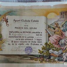 Coleccionismo deportivo: T-738.- DIPLOMA -- SPORT CICLISTA CATALA -- POR SU PARTICIPACION EN LA CARRERA PEDESTRE , 2 JUN-1918. Lote 261109860