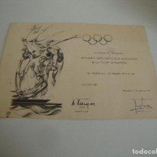 Coleccionismo deportivo: CURIOSO DIPLOMA DEL ALCALDE BARCELONA Y PANATLON CLUB BARCELONA OLIMPIADAS 1992. Lote 262350480