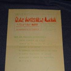 Coleccionismo deportivo: (M2) CIRCULAR GRUPOS UNIVERSITARIOS DE MONTAÑA DEL SEU DE MADRID 1956, CARTELITO. Lote 262521050