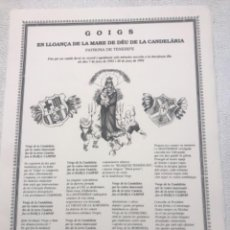 Coleccionismo deportivo: GOIGS MARE DE DÉU CANDELARIA FUTBOL CLUB BARCELONA TENERIFE. 1992-1993 SELLÓ EN SECO.. Lote 263535965