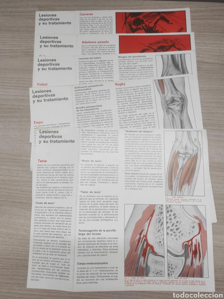 Coleccionismo deportivo: 5 láminas lesiones deportivas y su tratamiento. Notas de medicina deportiva. Lasonil. 2,3,4,5,6 - Foto 2 - 267664274