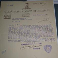 Coleccionismo deportivo: DOCUMENTO FEDERACION CATALANA DE ATLETISMO 1948 ORGANIZACIÓN XXXCAMPEONATO DE ESPAÑA DE CARRERAS. Lote 268598049