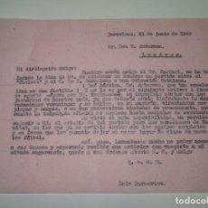 Coleccionismo deportivo: CARTA ORIGINAL - SR BARDERI A TRASLADADO LA IDEA DE CELBRAR UN PARTIDO CHELSEA -FC BARCELONA 1949. Lote 268601999