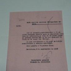 Coleccionismo deportivo: CARTA ORIGINAL PARTIDO AMISTOSO TÁRREGA - R MADRID, CAMPO DEL TÁRREGA 9 SEPTIEMBRE 1948. Lote 268603509