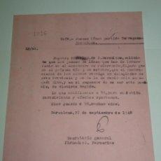 Coleccionismo deportivo: CARTA ORIGINAL TARRAGONA - FC BARCELONA SOLICITAN JUECES DE LÍNEA PARA EL PARTIDO DEL 3 OCTUBRE 1948. Lote 268603844