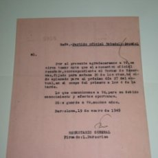 Coleccionismo deportivo: FUTBOL CARTA OFICIAL PARTIDO SABADELL - RCD ESPAÑOL, TORNEO DE RESERVAS 27 ENERO 1949. Lote 268606169