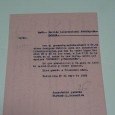 Coleccionismo deportivo: FUTBOL CARTA ORIGINAL PARTIDO INTERNACIONAL BURNLEY - FC BARCELONA 26 MAYO 1949. Lote 268608489