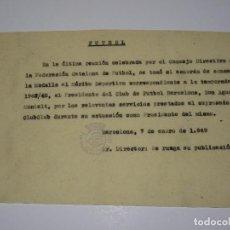 Coleccionismo deportivo: FÚTBOL CARTA ORIGINAL MEDALLA AL MÉRITO DEPORTIVO AL PRESIDENTE FC BARCELONA D AGUSTIN MONTALT 1947. Lote 268725669