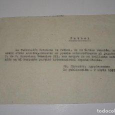Coleccionismo deportivo: FÚTBOL CARTA ORIGINAL PREMIO AL JUGADOR FC BARCELONA GONZALO III CON MOTIVO DE ESPAÑA - ITALIA 1949. Lote 268726119