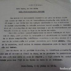 Coleccionismo deportivo: FÚTBOL CARTA ORIGINAL R SOCIEDAD - RCD ESPAÑOL ENCUENTRO 3 LUGAR COPA DE S.E. EL GENERALISIMO 1948. Lote 268726524