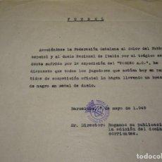 Coleccionismo deportivo: FÚTBOL CARTA ORIGINAL FEDERACIÓN CATALANA DE FÚTBOL AL DOLOR DEL TRÁGICO ACCIDENTE TORINO A.C. 1949. Lote 268726944
