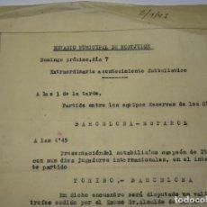 Coleccionismo deportivo: FÚTBOL CARTA ORIGINAL PARTIDO FC BARCELONA -RCD ESPAÑOL / FC BARCELONA - TORINO AC 1947. Lote 268728489
