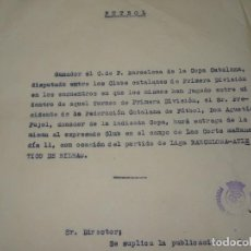Coleccionismo deportivo: FÚTBOL CARTA ORIGINAL FC BARCELONA GANADOR COPA CATALANA 1 DIVISION ENTREGA DON AGUSTÍN PUJOL 1948. Lote 268728879