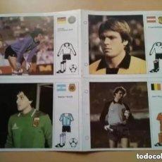 Coleccionismo deportivo: FICHAS ESTRELLAS MUNDIAL 82. BRUGUERA. BLOQUE 4 FICHAS NUMS 2, 14, 22,28. Lote 269496763