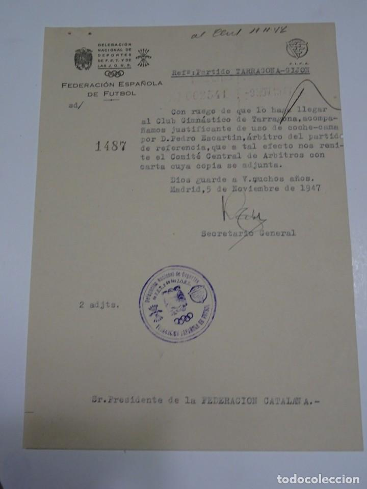 FÚTBOL CARTA ORIGINAL - PARTIDO TARRAGONA - GIJÓN - CLUB GIMNASTICO DE TARRAGONA AÑO 1947 (Coleccionismo Deportivo - Documentos de Deportes - Otros)