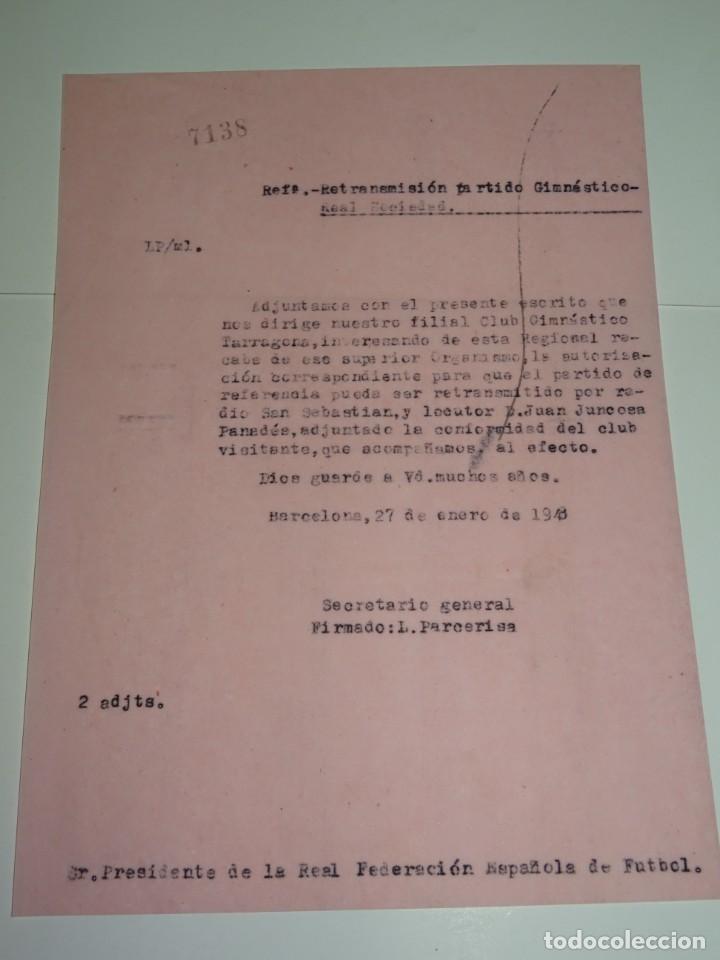 FÚTBOL CARTA ORIGINAL - RETRASMISION GIMNASTICO DE TARRAGONA - R SOCIEDAD AÑO 1948 (Coleccionismo Deportivo - Documentos de Deportes - Otros)