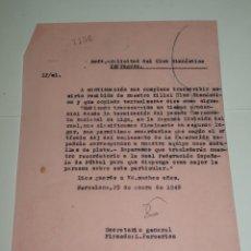 Collectionnisme sportif: FÚTBOL CARTA ORIGINAL - SOLICITUD DE MEDALLAS GIMNASTICO DE TARRAGONA 2 LUGAR SEGUNDA DIVISION. Lote 269693268