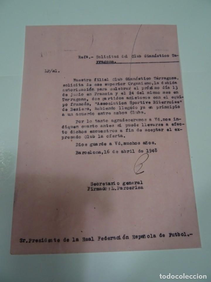 FÚTBOL CARTA ORIGINAL - GIMNASTICO DE TARRAGONA - SPORTIVE BITERROISE DE BEZIERS 1948 (Coleccionismo Deportivo - Documentos de Deportes - Otros)