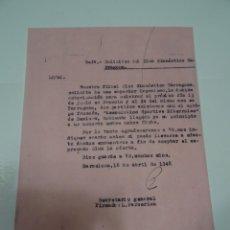 Collectionnisme sportif: FÚTBOL CARTA ORIGINAL - GIMNASTICO DE TARRAGONA - SPORTIVE BITERROISE DE BEZIERS 1948. Lote 269804493